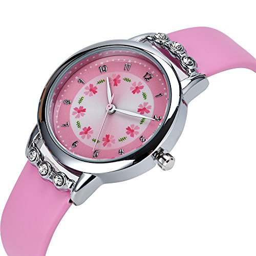 Dovoda girl watches easy reader time teacher flowers diamond pink leather watch for kids for Dovoda watches
