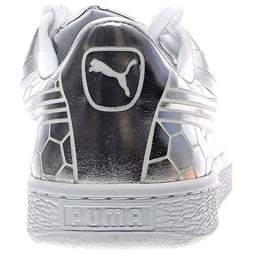 PUMA Men's Basket Classic Metallic Fashion Sneaker, Silver, 9.5 M US by PUMA (Image #2)