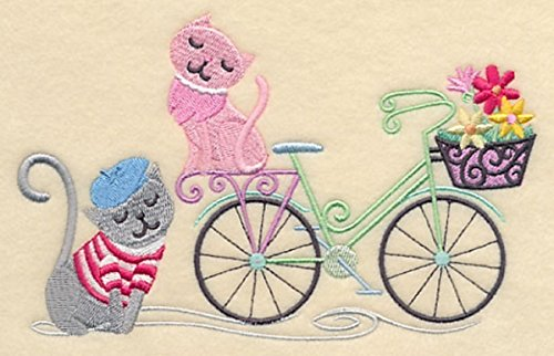 Embroidered Kitty (Embroidered Kitchen Towel Paris Kitty Cats Bicycle Design)