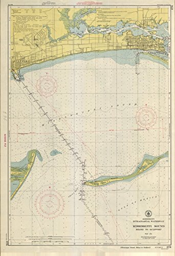 Map | Mississippi Sound : Biloxi To Gulfport, 1948 Nautical NOAA Chart | Vintage Wall Art | 44in x 65in (Map Mississippi Biloxi)
