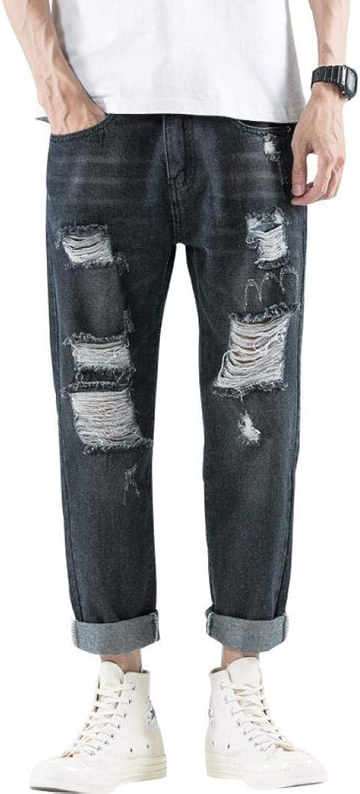 SCILLO メンズ ジーンズ Gパン ダメージ デニム ズボン ロングパンツ デニムパンツ ワイド ジーパン ストレート 大きいサイズ ジーパン ゆったり カジュアル 体型カバー