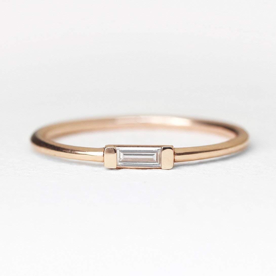 Amazon Com Diamond Wedding Band Diamond Wedding Ring Diamond Engagement Band Diamond Engagement Ring Baguette Diamond Ring Handmade