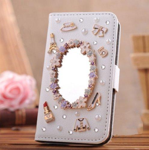 "EVTECH (TM) 3D Bling Strass Fleur Flip Cover Cuir Coque Leather Housse Blanc Shell Etui Housse Bling Case pour iPhone 6/iPhone 6s 4,7"" (2014)"