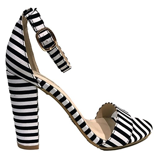 4cfcf2b99ccf Bamboo Frenzy-20S Ankle Strap Block Heel Open Toe Canvas Sandal Stripe  Black   White