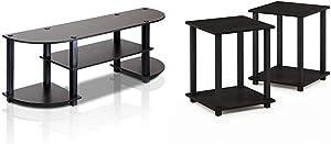 Furinno Turn-S-Tube Wide TV Entertainment Center, Espresso/Black & Simplistic End Table, Espresso/Black
