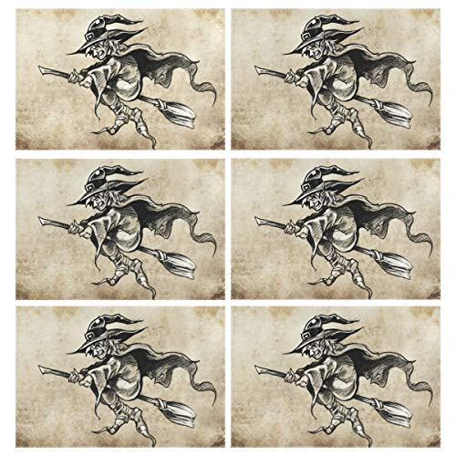 senya Placemats Set of 6 Sketch Wizard Heat-Resistant Washable Table Mats 12 x 18 in for Kitchen Dinner ()