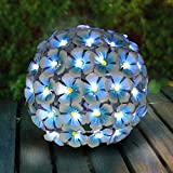 Exhart Solar Metal Hydrangea Ball, Tabletop Centerpiece Decoration, LED, Solar Powered, Blue, 8'' L x 8'' W x 8'' H