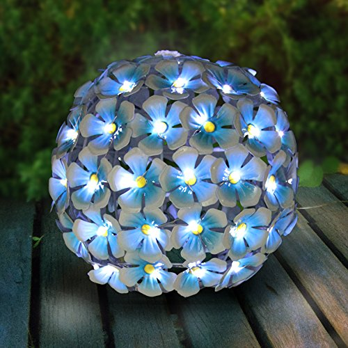 Exhart Solar Metal Hydrangea Ball, Tabletop Centerpiece Decoration, LED, Solar Powered, Blue, 8'' L x 8'' W x 8'' H by Exhart