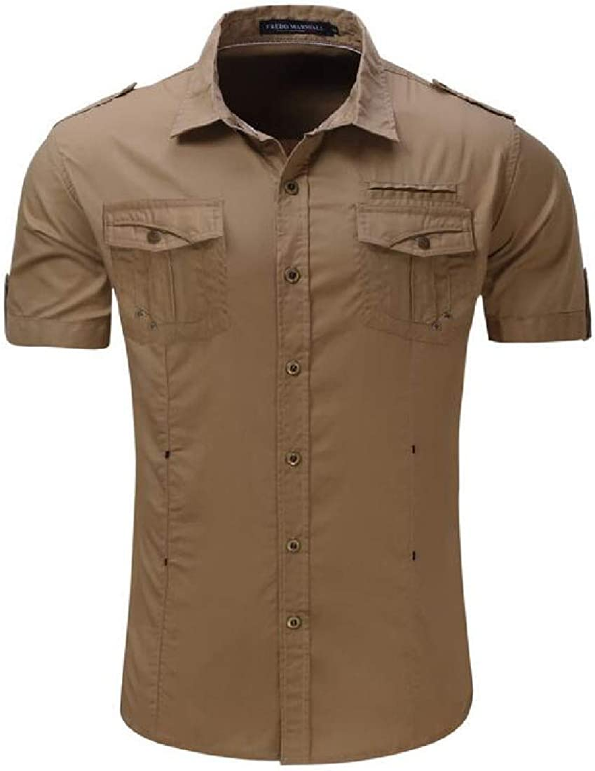 Mstyle Men Relaxed Fit Pocket Outdoor Button Down Short Sleeve Military Shirts