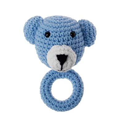 Ladaidra Newborn Baby Animal Rattle Toys Wooden Teething Ring Newborn Sensory Toy Shower Gift Safe: Toys & Games