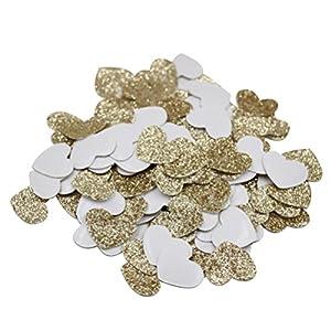 Mybbshower Gold Glitter Heart Stickers Wedding Invitation Decoration Pack of 200