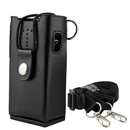 abcGoodefg Hard Leather Carrying Case Holder Holster for Yausu ICOM Kenwood two way radios TK3107 TK3207 TK2107 TK2207 Motorola GP3688 GP3188 CP200 CP040 CP140 by abcGoodefg