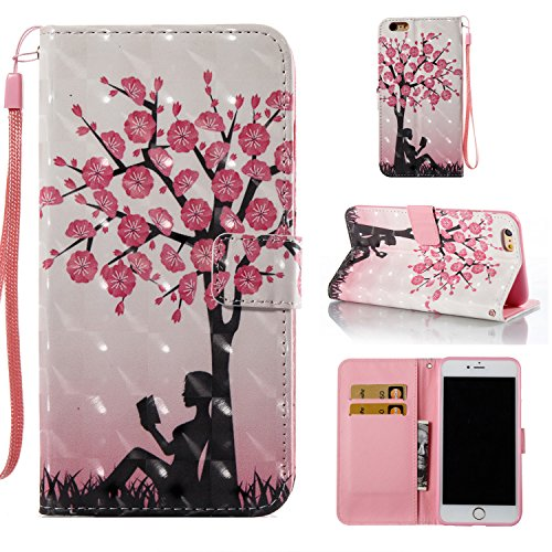 (Amocase Wallet Leather Case with 2 in 1 Stylus for iPhone 6 Plus/6S Plus 5.5 inch,Premium 3D Printed Magnetic PU Leather Card Slot Stand Fold Flip Case with Wrist Strap - Peach Tree Girl)