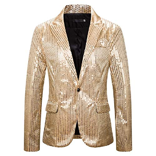 HEFASDM Men ' s costume Evening Club emcee sparkly casual casaco esporte blazer Golden S