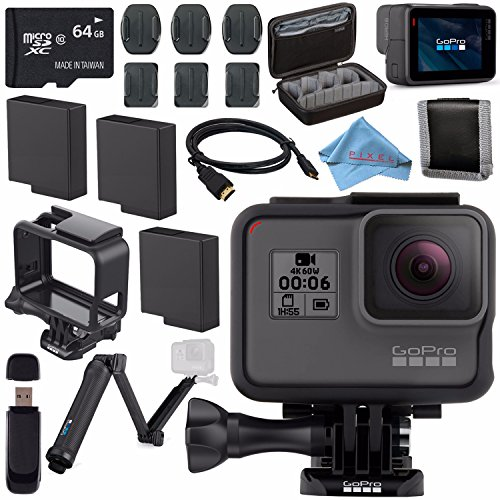 GoPro HERO6 Black CHDHX-601 + 64GB microSDXC + Battery for Gopro Hero + GoPro 3-Way + Micro HDMI Cable + Case for GoPro HERO4 and GoPro Accessories + Card Reader + Memory Card Wallet Bundle