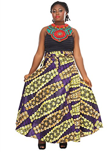 African Planet Women's Paisley Print Wax Skirt Inspired Wrap Around Waist Maxi by African Planet (Image #1)