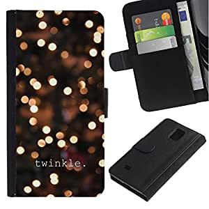 Billetera de Cuero Caso Titular de la tarjeta Carcasa Funda para Samsung Galaxy Note 4 SM-N910 / Twinkle Winter Night Lights Bright Blur / STRONG