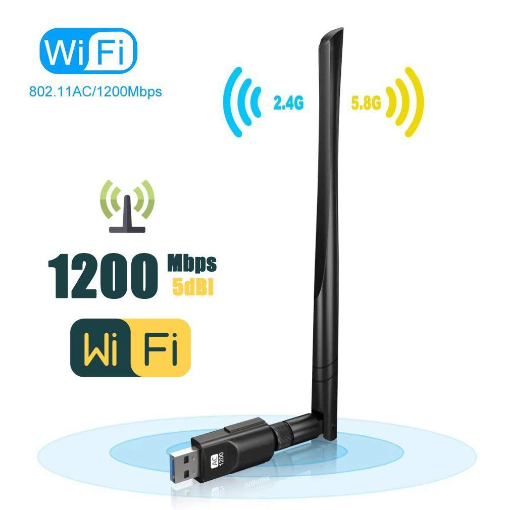 ANKU USB WiFi Adapter USB 3.0 AC1200Mbps Wireless Adapter Dual Band 2.4GHz/5.8GHz 867Mbps 802.11ac/b/g/n Wireless Adapter Desktop/Laptop/PC, Support Soft AP Windows 10/8/8.1/7, Mac OS