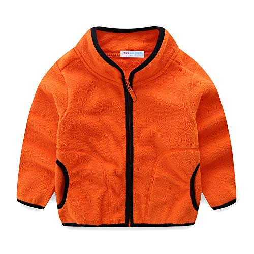 Mud Kingdom Toddler Boy Jacket Soft Fleece Lightweight 2T Orange ()