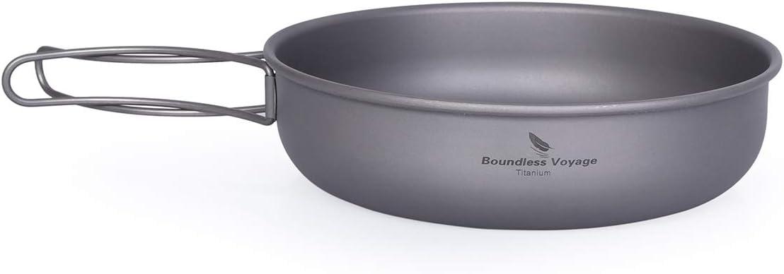 Boundless Voyage Outdoor Camping Titanium Bowl Pan Set 3 Piece Hiking Backpacking Cooking Picnic Cookware Mess Kit