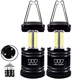 Gold Armour 2 Pack Portable LED Camping Lantern Flashlight with Magnetic Base - EMITS 500 LUMENS - Survival Kit for Emergency, Hurricane, Power Outage with 6 AA Batteries Included (Cl60)