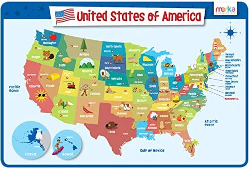 merka Educational Placemat for Kids - USA Map - Big and Colorful Mat -  United States of America Map - Non Slip, Washable and Reusable - States and  ...