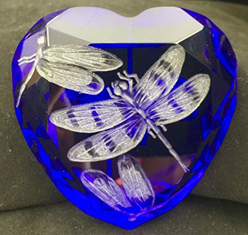 Personalized Heart Paperweight - Hand Engraved cobalt blue Crystal Paperweight Dragonflies, Office Decor, Personalized Heart Paperweight, Dragonfly, Rosenthal Paperweight Engraved