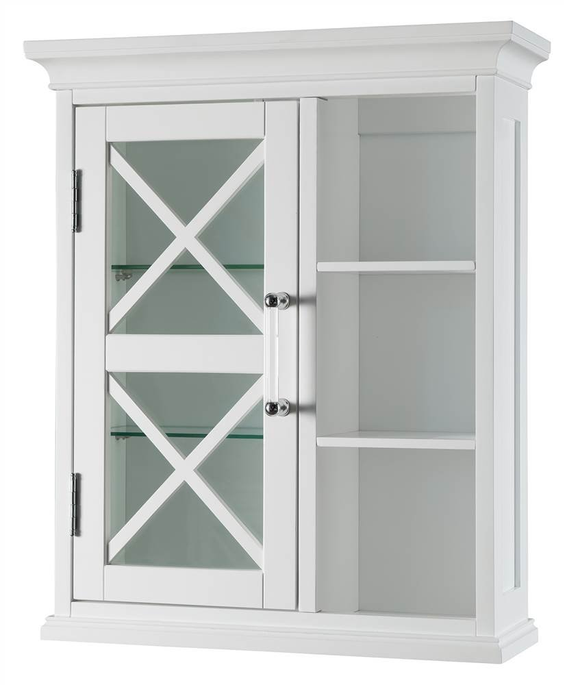 Elegant Home Fashions Blue Ridge 1-Door Wall Cabinet with Cubbies in White