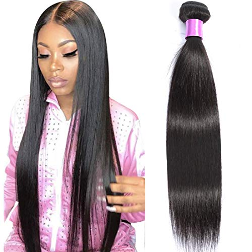 AUTTO Hair Unprocessed Brazilian Virgin Hair Straight Hair One Bundle 24inch Cheap Virgin Human Hair Extension Weft Natural Black Color (100+/-5g)/bundle Can be Dyed and Bleached
