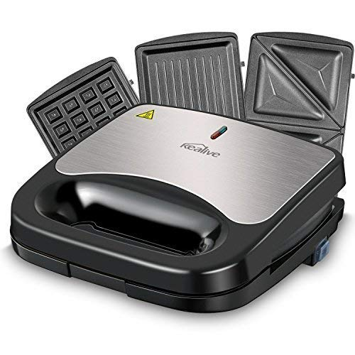Kealive Sandwich Maker, 3 in 1 Sandwich Toaster, Waffle Maker, Sandwich Press with Nonstick Anodized Aluminum Coated Plates, 750-Watts, LED Indicator Lights, Cool Touch Handle, Anti-Skid Feet, Black