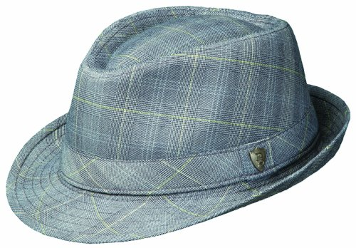Dorfman Pacific Plaid Suiting Fedora with Self Trim HAT (M, GREY)