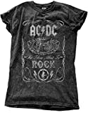 Ac/Dc T Shirt About To Rock Official Womens Junior Fit Distressed Snow Wash