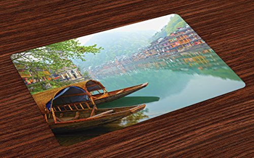 Ambesonne Asian Place Mats Set of 4, Old Chinese Suburbs Lake Canal with Wood Boats Foggy Asian Eastern Rural Scene Art, Washable Fabric Placemats for Dining Room Kitchen Table Decor, ()