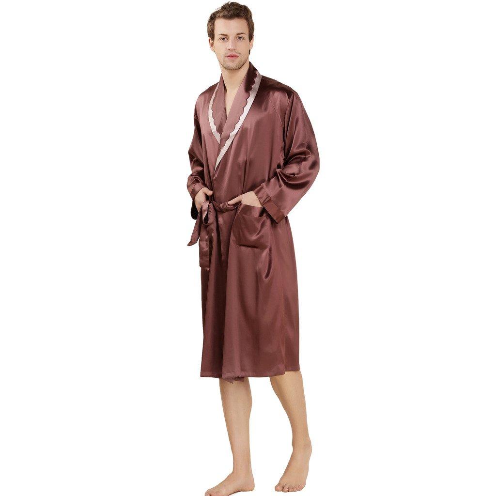 ForeverSilk Men's 19 mm Silk Robe Bathrobe Luxury Sleepwear Gift Coffee Size M