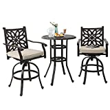 PHI VILLA Cast Aluminum Pub Height Bistro 2 x Swivel Bar Chairs and 1 x Table Outdoor Furniture Set For Sale