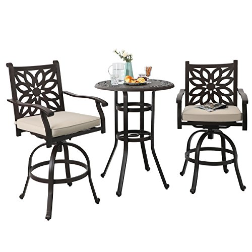 PHI VILLA Cast Aluminum Pub Height Bistro 2 x Swivel Bar Chairs 1 x Table Outdoor Furniture Set