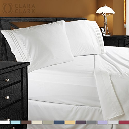 Clara Clark Premier 1800 Collection 4pc Queen Bed Sheet Set, White