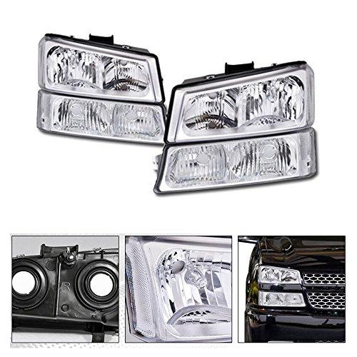 VXMOTOR 2003-2007 Chevy Silverado 1500 2500 3500 Chrome Crystal Clear Euro Sport Head Lights Headlamps w/Signal w/Parking Corner Turn Headlight + Bumper Signal Light Lamp NB (Used Chevy Silverado 2500)