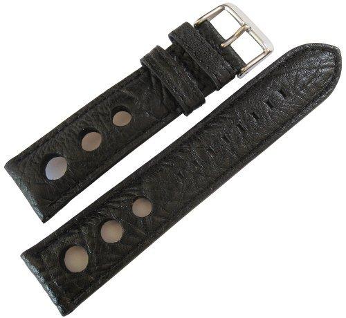 Fluco Rallye 22mm Black Leather Watch Strap by Fluco