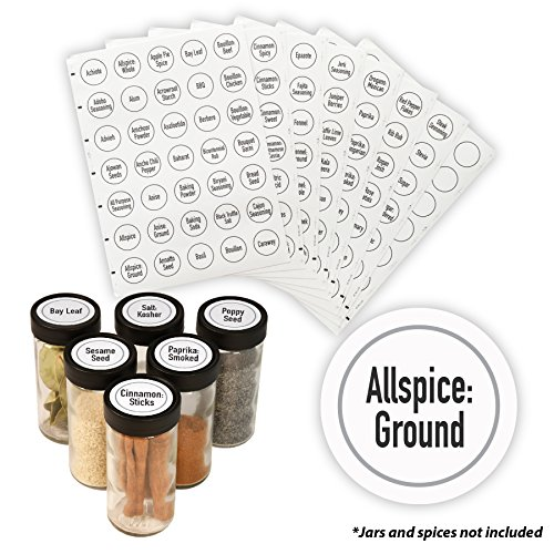 AllSpice 315 Preprinted Water Resistant Round Spice Jar Labels Set 1.5- Fits Penzeys and AllSpice Jars-4 styles to choose from (Modern White)