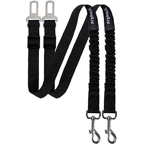 Vastar 2 Packs Pet Dog Seat Belt Leash Adjustable Dog Cat Safety Leads Harness, Vehicle Car Seatbelt Harness for Pets with Elastic Nylon Bungee Buffer for Shock Attenuation