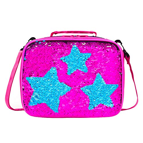 Kids Sequin Lunch Box for Girls Flip Sequence Insulated School Lunch Bag Durable Thermal Reusable Spark Holographic Lunch Tote