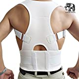 Back & Lumbar Support Brace by NONPAREIL - Improve Posture & Relieve Lower Thoracic, Neck & Spine Pain & Pressure - X Large (Waist 37-40), White