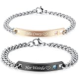Gagafeel His Hers Matching Set Titanium Stainless Steel His Queen Her King Couple Bracelet 2 pcs with Gift Box (His Crazy Her Weirdo)