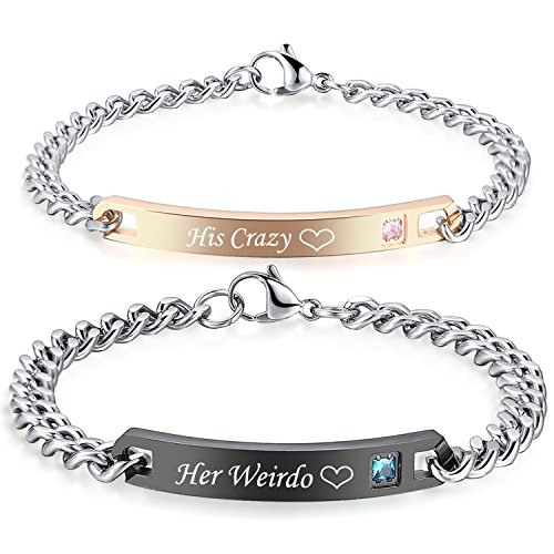 Gagafeel His Hers Matching Set Titanium Stainless Steel His Queen Her King Couple Bracelet 2 pcs with Gift Box (His Crazy Her ()
