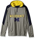 """NCAA Michigan Wolverines Youth Boys """"Illustrious"""" 1/4 Zip Hooded Jacket, Large (14-16), Light Charcoal"""