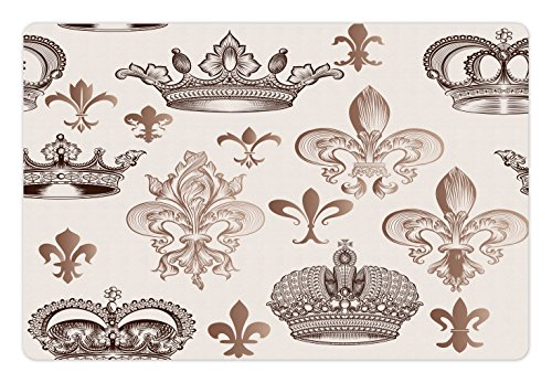 Lunarable Fleur De Lis Pet Mat for Food and Water, Crowns and Fleur-de-Lis Shapes in Engraved Style Fame Symbolic Artwork Print, Non-Slip Rubber Mat for Dogs and Cats, 18