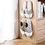 COZYWELL Shoe Rack Wall Mounted 6 PCS White, [Power Sticker] Sticky Shoe Storage Organizer Nail Free, Self Adhesive Shoe Shelf Holder, Shoe Rack Hanging Over The Wall Without Hole