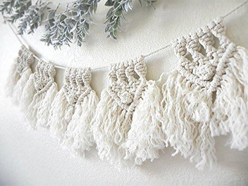 Macrame Bunting Garland by A Fête Beckons/Boho Garland Backdrop Natural Nursery Decor Minimalist Wall Decor 100% Handmade 5 Feet