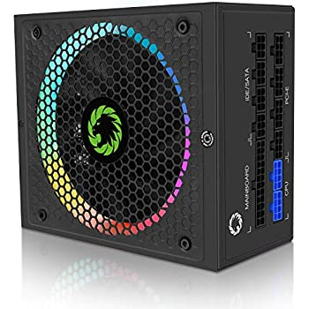 Power Supply 850W Fully Modular 80+ Gold Certified with Addressable RGB Light - Vairous Color Mode, GAMEMAX RGB850 Rainbow